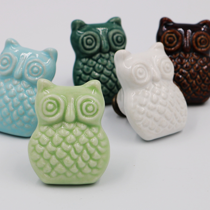 One piece Ceramic Owl shape Cabinet Knob Closet Cupboard Door Dresser Drawer Pull Handle Kid Furniture Knob Handle rustic ceramic furniture knob pink flower porcelain drawer cabinet knob 38mm white ceramic dresser cupboard door pull handle