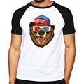 Fashion bear image pattern T-Shirt Men swag Cotton O Neck Man t shirt Short Sleeve clothing Mens Tops drake  jerseys
