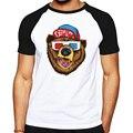 Moda urso imagem padrão t-shirt de algodão o pescoço homem camiseta de manga curta dos homens dos ganhos clothing mens tops drake jerseys