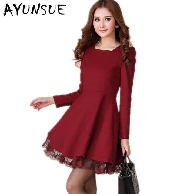 2018 autumn winter new style women fashion casual long sleeve vintage  woolen lace dress one-piece plus size bid yard dress S0758 c13553186093