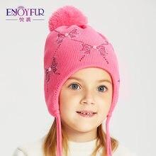 ENJOYFUR sombreros para el invierno frío Real Fox Fur Pom sombreros de los niños  orejas calientes gorras para niños niñas gorros. afc66f4d35b