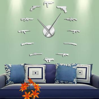 Varias armas arma DIY Reloj de pared Revolver pistola doble pistola temática militar pegatina de pared reloj de cuarzo espejo superficie