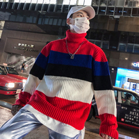 Men Streetwear Hip Hop Fashion Casual Turtleneck Pullover Sweater Male Colors Knitting Sweater Couple Autumn Winter Sweater