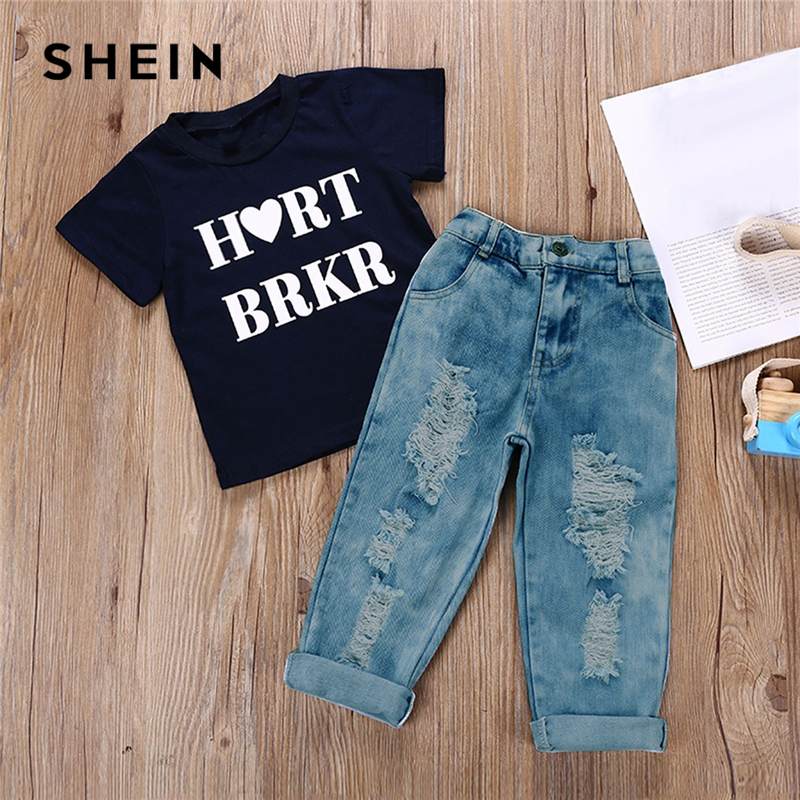 SHEIN Kiddie Toddler Boys Ripped Letter Print Tee With Destroyed Jeans Two Piece Set 2019 Spring Short Sleeve Casual Boys Sets casual cat print ringer tee