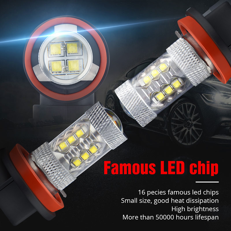 Image 4 - NAO H11 led 9005 HB3 9006 HB4 fog lights H8 H10 12V 16SMD CREE Chip DRL 1600lm Car LED H9 80W Auto Bulb 6000K White Lamp-in Car Fog Lamp from Automobiles & Motorcycles