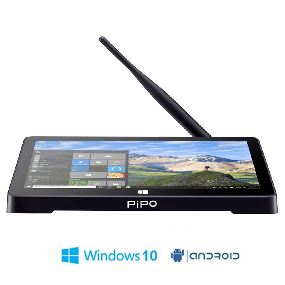 Nouveau boîtier TV graphique double HD PIPO X8 Pro Windows 10 Android 5.1 Intel 8350 Quad Core 2 GB/32 GB boîtier Tv écran 7 pouces Mini Pc