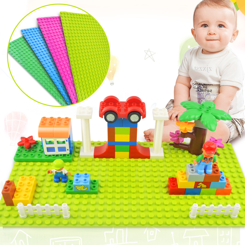 Tumama Big Size Blocks Base Plate 32*16 Dots 51*25.5 cm Baseplate DIY Building Blocks Toys For Children Compatible Legoed Duplo new big size 40 40cm blocks diy baseplate 50 50 dots diy small bricks building blocks base plate green grey blue