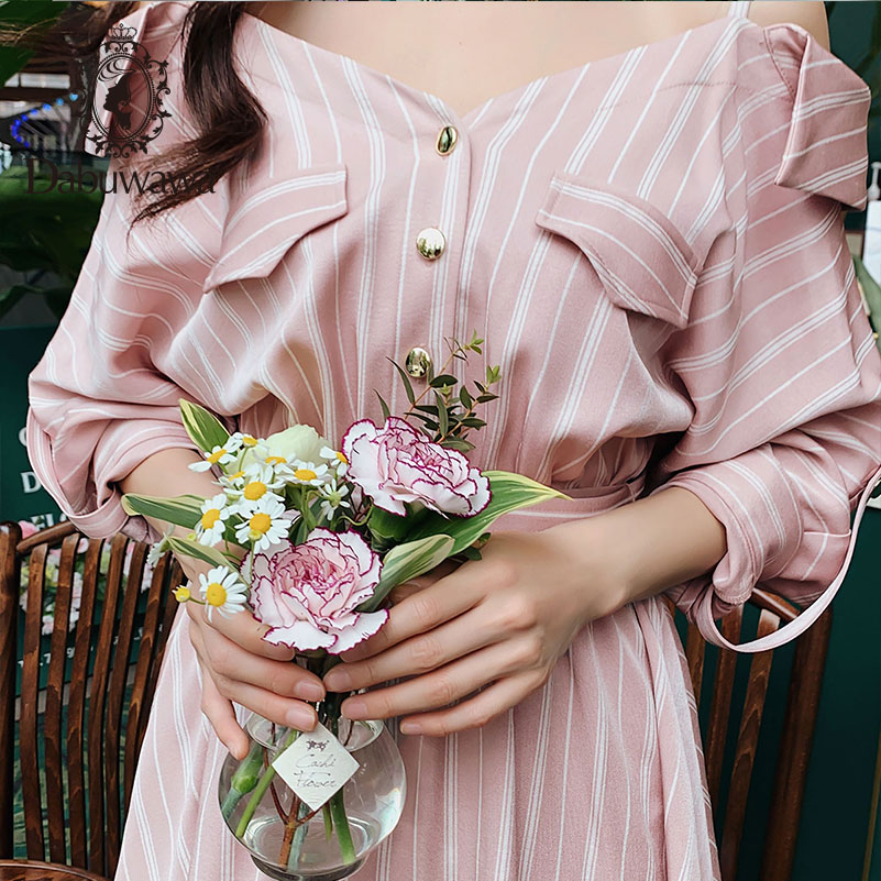 Dabuwawa 2019 New Autumn Women 39 s Slim Waist Temperament Shoulder Strap Dress Pink Elegant Striped Dress DN1CDR015 in Dresses from Women 39 s Clothing