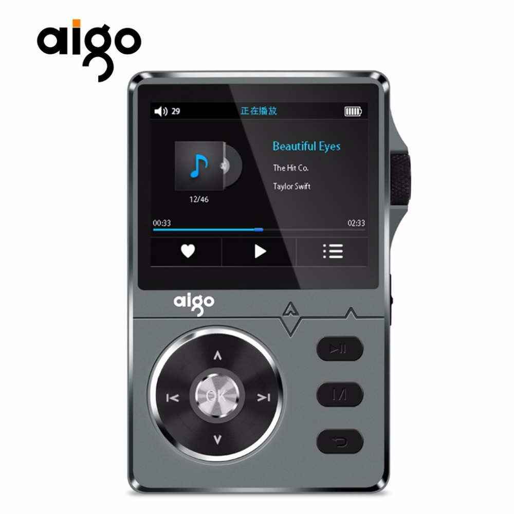 Aigo Zinc Alloy HiFi High Quality Mp3 Music Player Sound Lossless 2.2 Inches 8GB MP3 Player Support APE/FLAC/ WMA/ WAV/OGG/ACC newest aune m1s portable professional lossless music mp3 hifi music player dap supported wam flac dsd ape mp3 alac aac