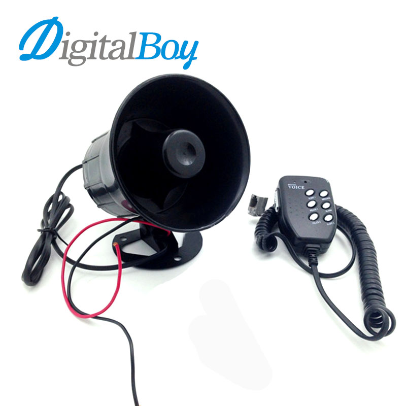Digitalboy New Motorcycle 50W Car Loud Air Horn 125dB Siren Sound Speaker Megaphone Alarm for Ambulance Truck Boat 12v 6 tones