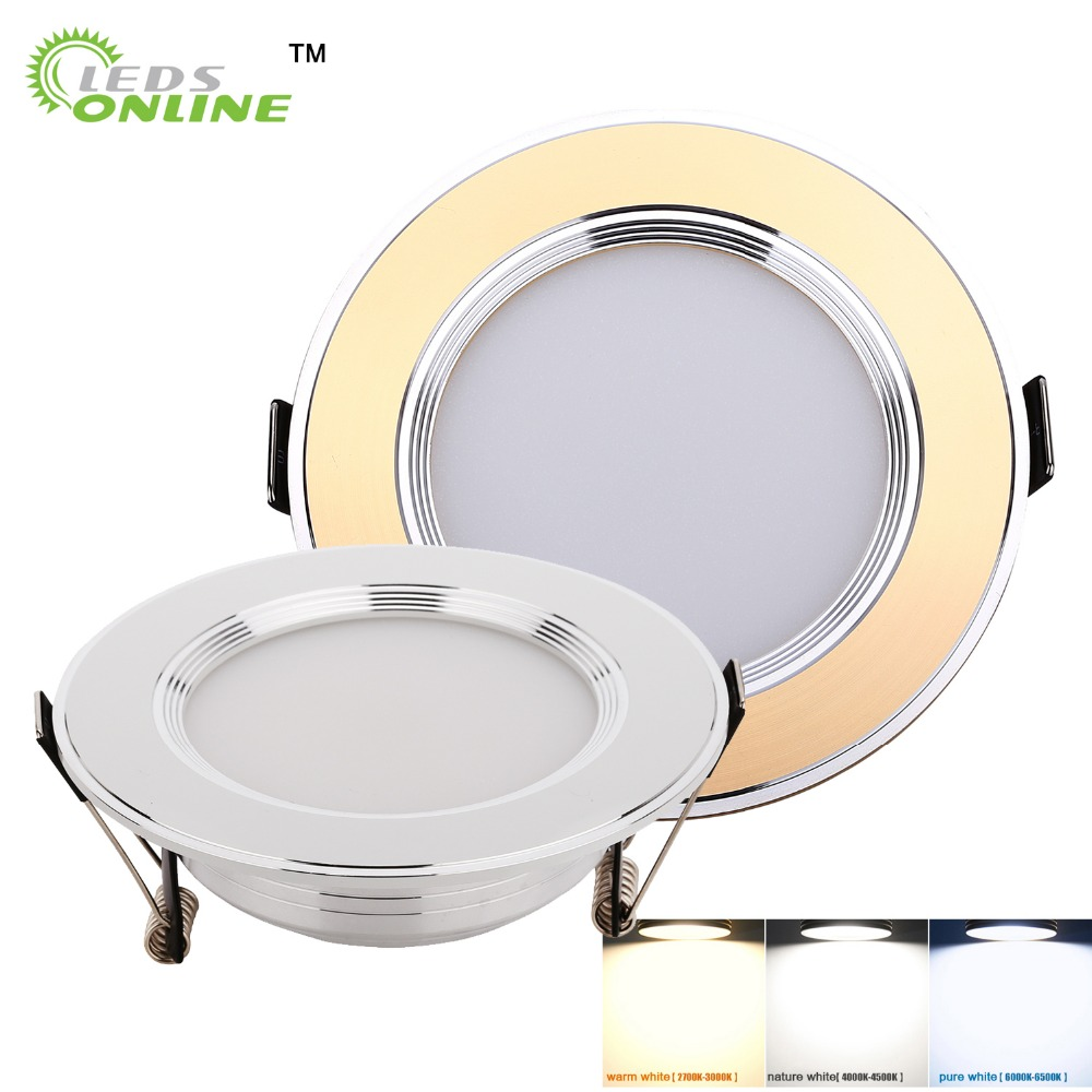 Gold Silver LED Ceiling Downlight Spot light Recessed Cabinet 3W 5W 7W Pure White Warm White More Safty
