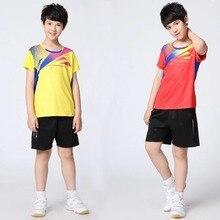 Коллекция года, комплекты студенческих теннисных рубашек костюм для бадминтона для мальчиков детская одежда для настольного тенниса футболка для пинг-понга+ шорты размера плюс 3XL XR70