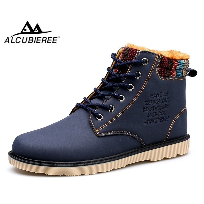 ALCUBIEREE Fashion Martin Boots Men Lace-up Winter Warm Ankle Shoes with Fur Outdoor Non-slip Snow Boots Comfort Masculina Bota подвесная люстра donolux s110188 8black