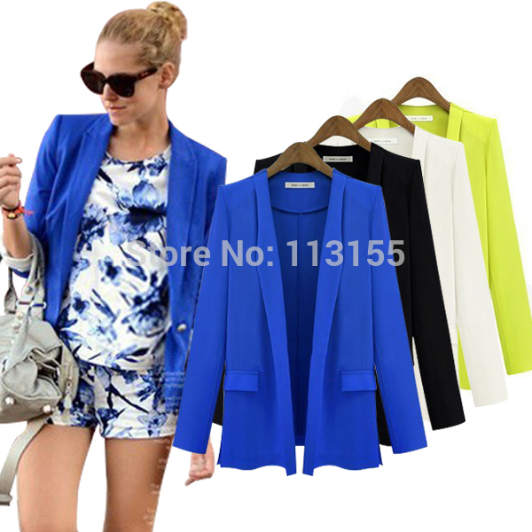 Fashion Ladies New 2016 Autumn Blazer Womens White Korean Solid Casual OL Black Loose Suits For Women Blazers And Jackets Blue