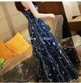 Темно-Синий Тюль Блестки Длинные Женщины Dress Великолепная Бретельках Макси Dress Звездное Лето Dress 2016 Пляж Dress 61419