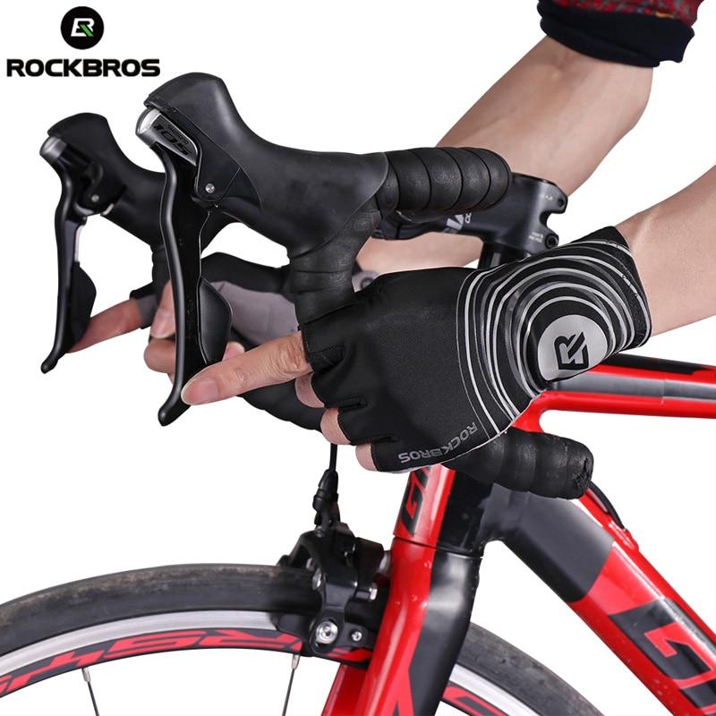цена на ROCKBROS Cycling Gloves Road Bike Bicycle Glove Black Men Half Finger Short Tactical Sport Gloves Anti Slip Gel Pad Breathable