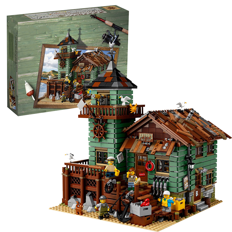 Lepin 16050 Old Fishing Store building bricks blocks Toys for children boys Game Model Gift Compatible with Bela 21310 hot sembo block compatible lepin architecture city building blocks led light bricks apple flagship store toys for children gift