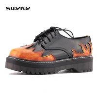 British Street Style Retro Lace Up Flame Color Low Martin Shoe Female Harajuku Thick Bottom