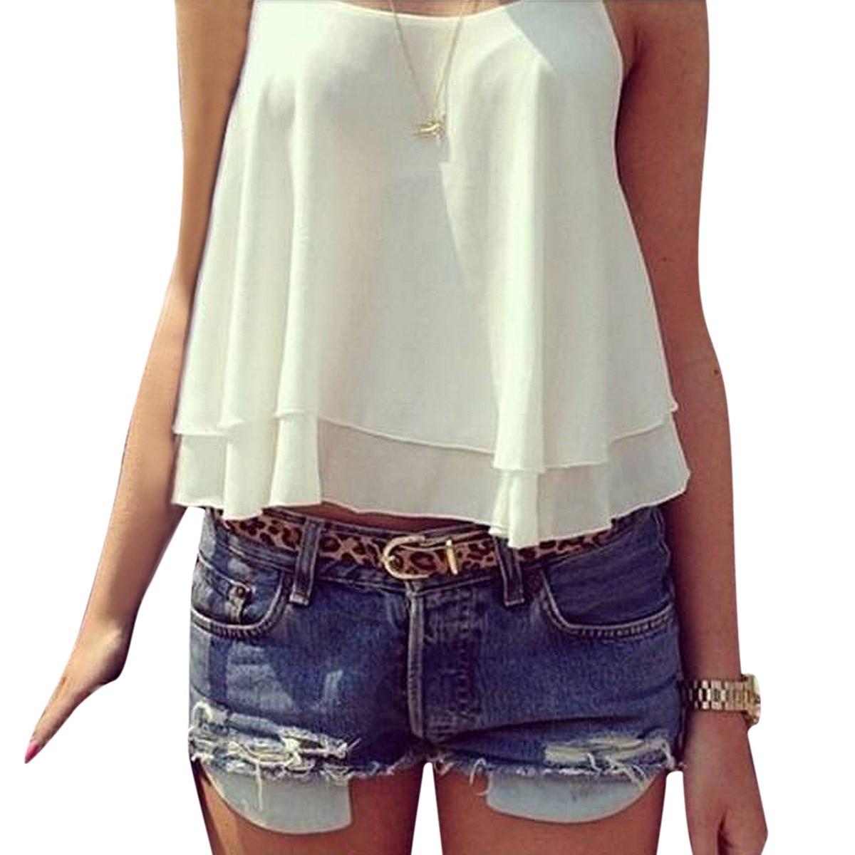 Zanzea Summer Style Tank Tops 2018 Sexy Womens Chiffon Double Layer Sleeveless Casual Solid Crop Top Cami T-Shirt Plus Size 4XL