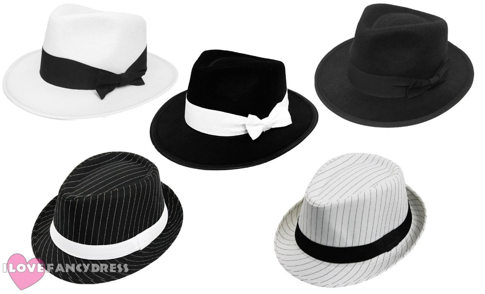 ADULT GANGSTER HAT BOWKNOT TRILBY AL CAPONE GATSBY1920'S FANCY DRESS PARTY MEN WOMEN DANCE DANCING STAGE COSTUME ACCESSORY