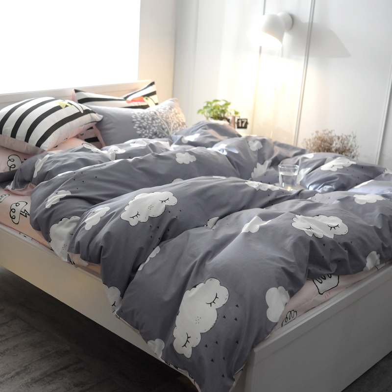 Printing cotton forest series bedding set fitted sheet for Housse duvet