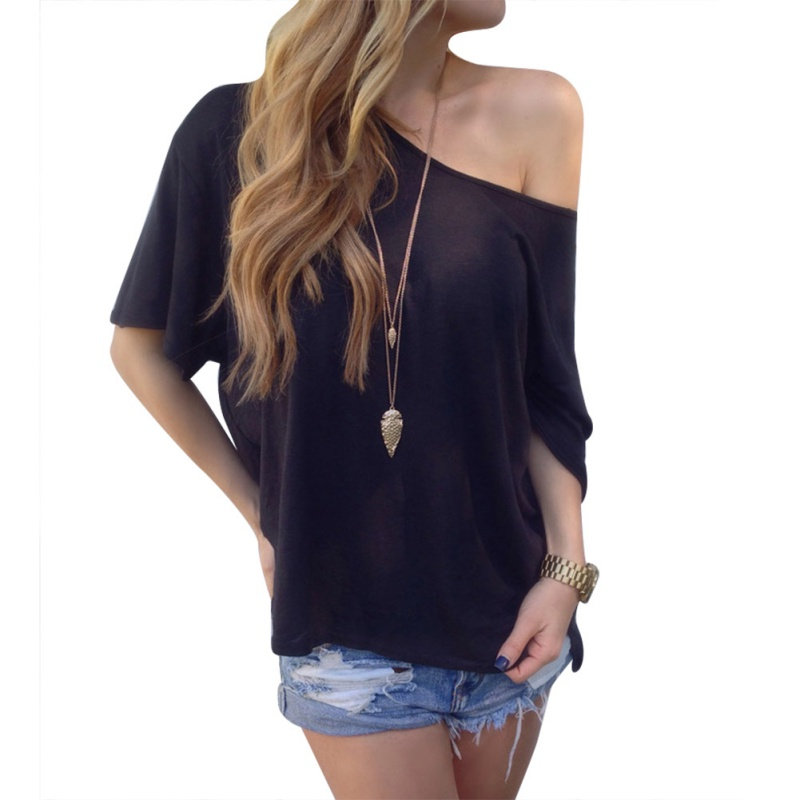 13e5827dfeef7c 2017 Women Ladies One Shoulder Casual Bloues Short Sleeve Soft Cotton Loose  T-shirts