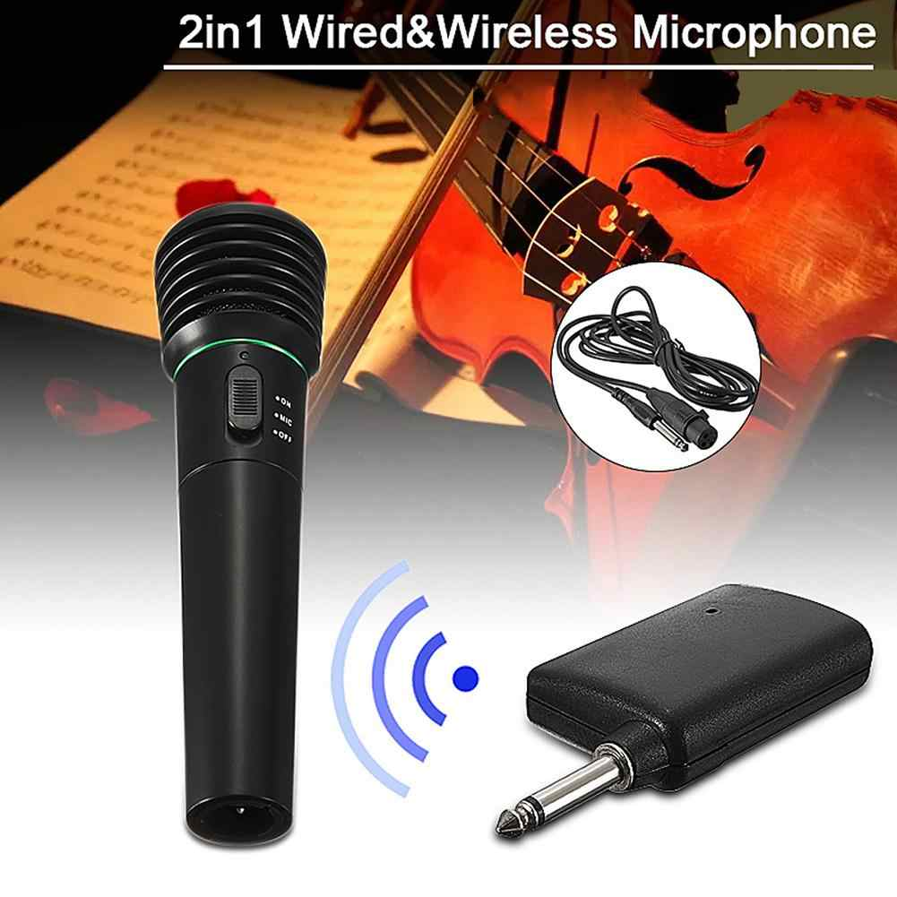 Hot 2-In-1 Kabel/Nirkabel Undirectional Handheld Mikrofon MIC Receiver Sistem