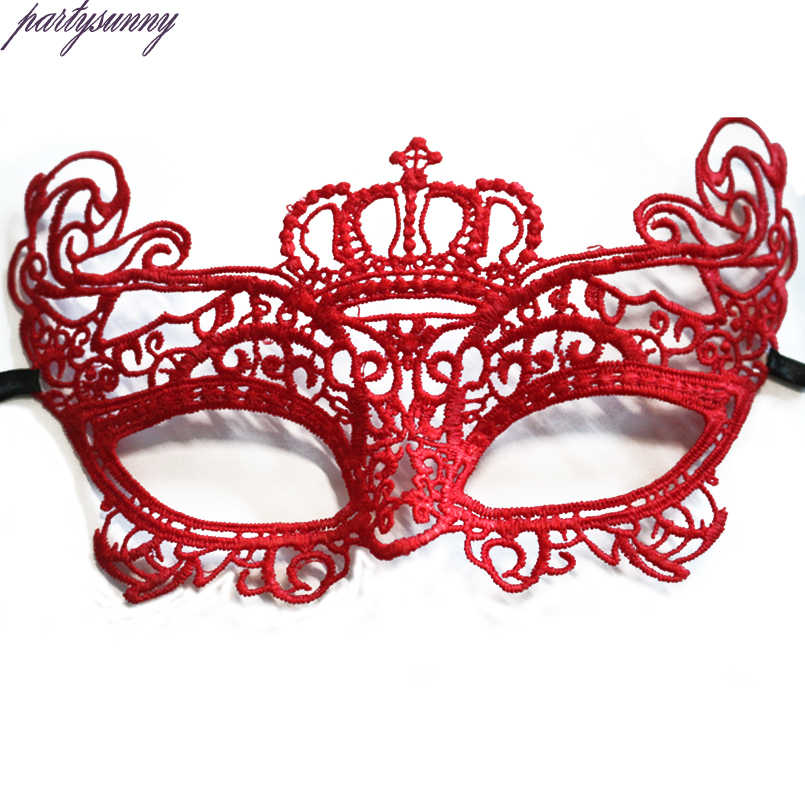 1 Pcs Halloween Gadis Wanita Hitam Merah Putih Sexy Lady Lace Masker untuk Masquerade Party Fancy Dress Costume