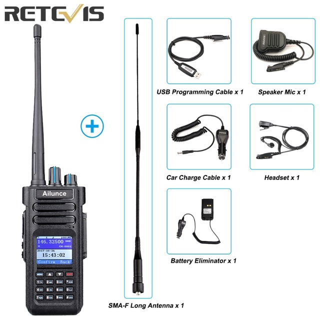Retevis Ailunce HD1 Dual Band DMR Radio Digital Walkie Talkie (GPS) VHF UHF HF Transceiver Ham Radio Amateur +Accessories