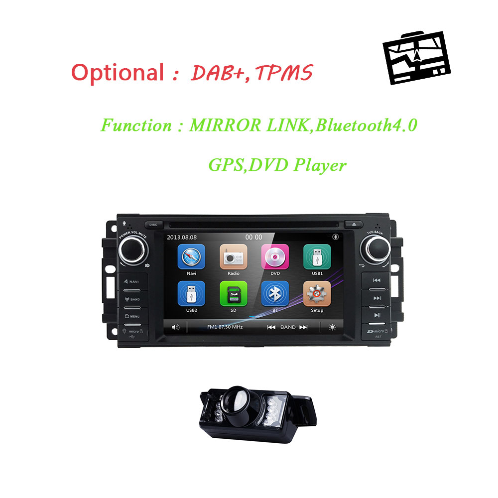 1 Din Car DVD Player For jeep <font><b>Grand</b></font> <font><b>Cherokee</b></font> Chrysler 300 Compass Chevrolet Epica Dodge RAM Wrangler Car Radio Tape Recorder 3G image