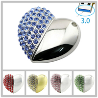 Crystal Heart Usb Flash Drive 8GB 64GB Necklace Chain Pendrive 32GB 16GB Pendrive 3 0 Gadget