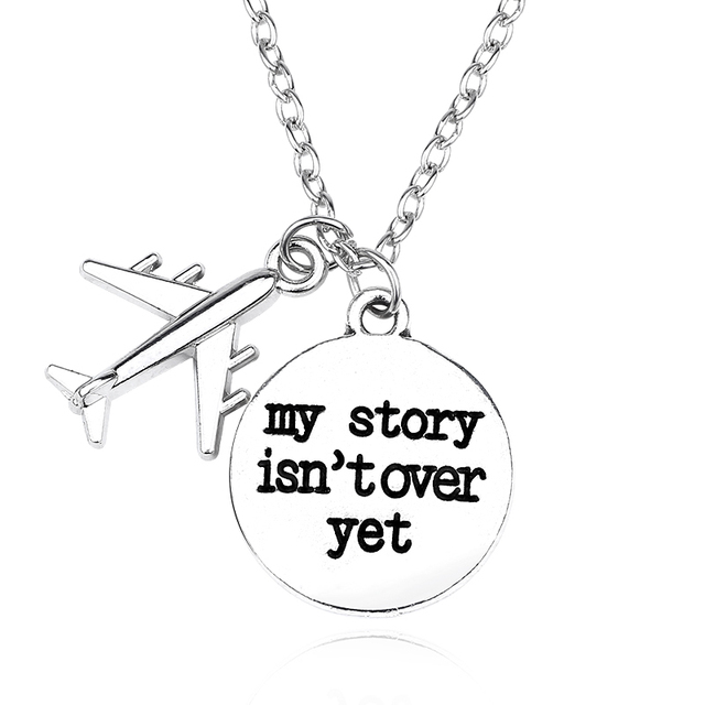 "DIY Air Plane Necklace For Women Letter ""My Story Isn't Over Yet"" Pendant Stainl"