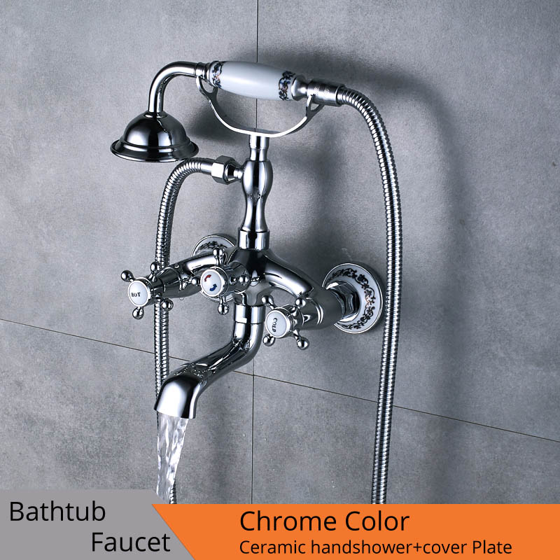 Chrome Bathroom Tub Sink Faucet Telephone Style Bathtub Mixer Faucet Dual Handle Shower Mixer Tap with Hand Shower Swivel Spout oil rubbed bronze dual handle bathroom bathtub sink mixer faucet wall mounted with hand shower swivel tub spout hot and cold wat
