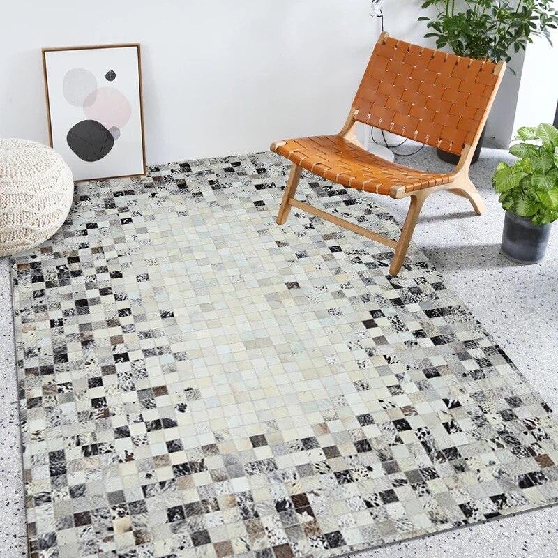 tapis et tapis en patchwork cuir veritable noir gris blanc cremeux