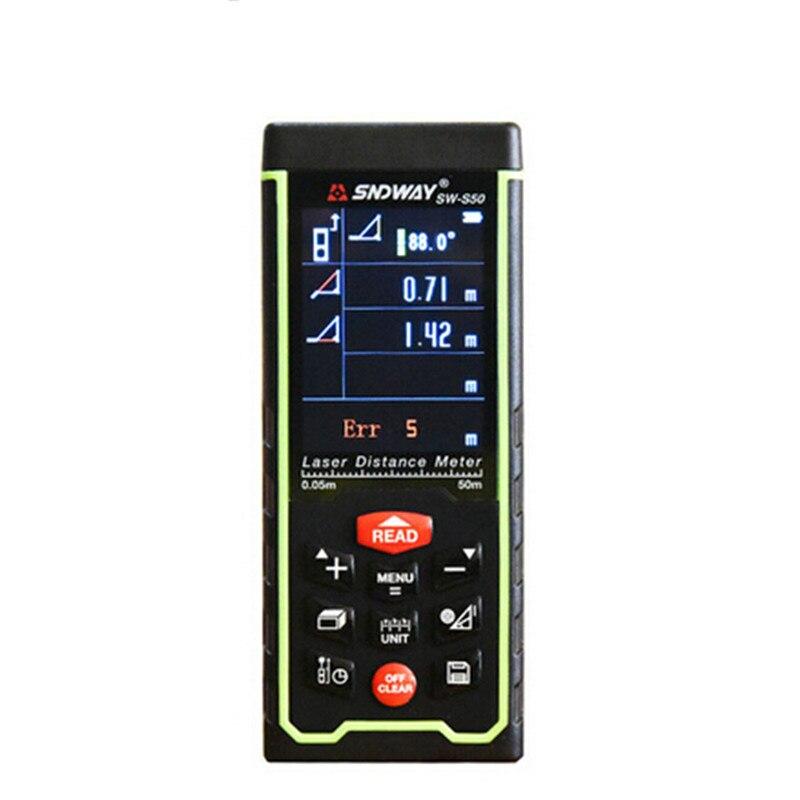 где купить SNDWAY SW-S50 Laser Distance Meter USB Rechargeable Laser Distance Meter 50m Rangefinder Tape Measure laser meter дешево