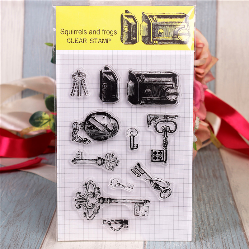 все цены на Rubber Silicone Clear Stamps for Scrapbooking Tampons Transparents Seal Background Stamp Card Making Diy Key lock Stempel