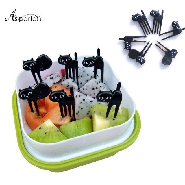 Asipartan 6 unids/set tenedores de fruta de gato negro Snack postre tenedores de comida Bento accesorios utensilios de cocina