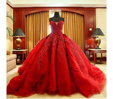 Hot Sale A-Line Red Cathedral Train Wedding Dresses Lace Appliques Bridal Dresses with Beads hot sale sperm count board with red ruby