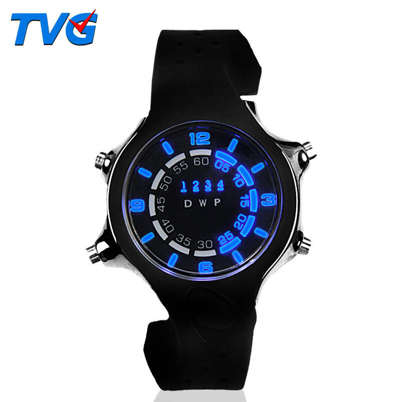 TVG LED Digital Watch Dual Colors Light Dial Dazzle Sports Water proof Men PU Strap White