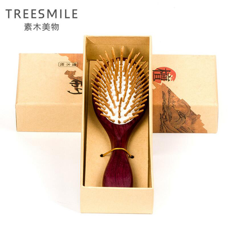 TREESMILE 1PC purple sandalwood anti-static head brush health exquisite wood hairbrush hair styling tools hair comb massage comb feixiang 3pcshigh quality natural green sandalwood wild boar mane comb hair brush green sandalwood comb sp massage head brush d5