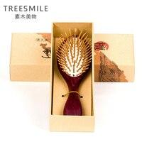 TREESMILE 1PC purple sandalwood anti static head brush health exquisite wood hairbrush hair styling tools hair comb massage comb