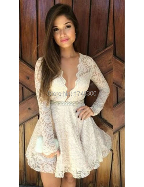 a84f8519dea Simple Deep V-Neck Lace Graduation Dresses Long Sleeve Short Prom Girl  Dresses With Beadings High V-Neck Pure Hot Sale 2017