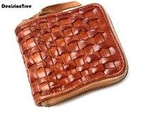 New Tanning Skin Leisure Men's Wallets Braided Genuine Leather Wallet Casual Handbag Retro Elegant Zipper Hot Man Wallet C019