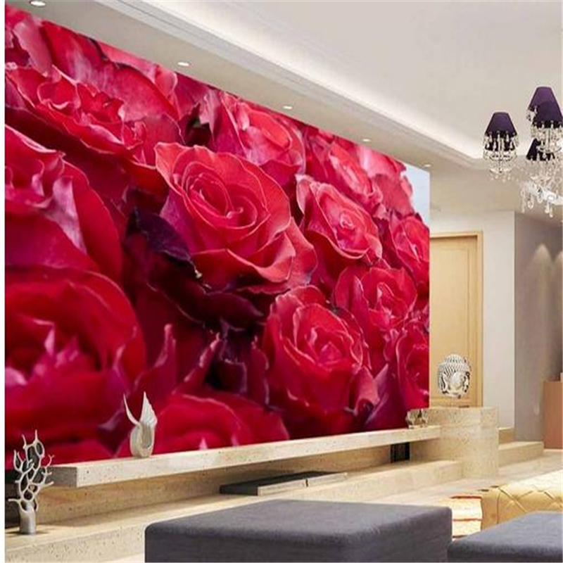 beibehang 3d customized wall paper red rose 3d wall murals wallpaper for living room room decor wallpapers  papel de parede custom photo 3d ceiling murals wall paper blue sky rose flower dove room decor painting 3d wall murals wallpaper for walls 3 d