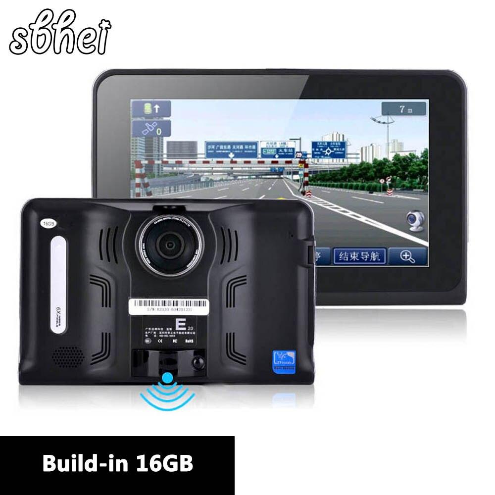 imágenes para 7 pulgadas Android GPS de Navegación Del Vehículo de visión Trasera cameraTruck GPS Del Coche Navigator Tablet PC Del Coche Detector de Radar incorporado 8 gb/16 gb