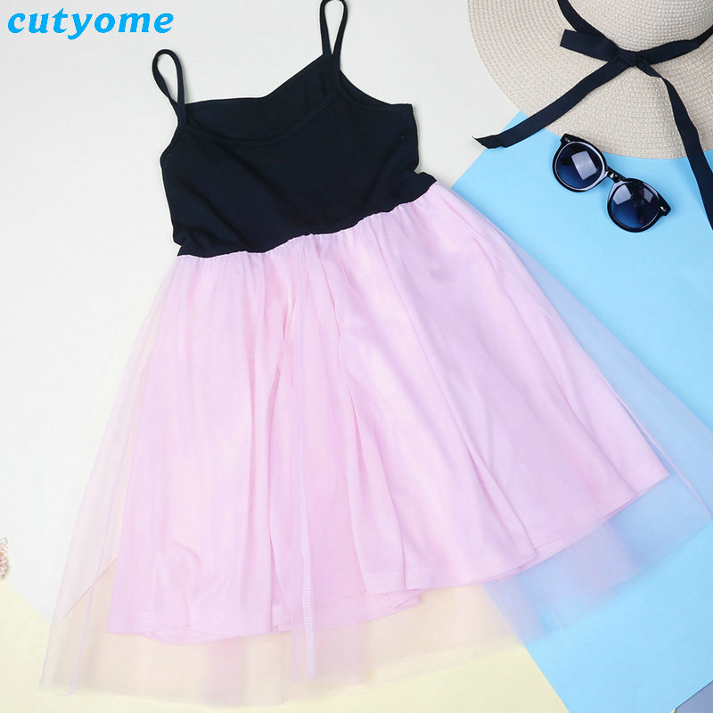 5f19753eeed4 ... Matching Mom And Daughter Family Clothes Dresses Sleeveless Pink Mesh  Patckwork Tutu Dress For Princess Mommy ...