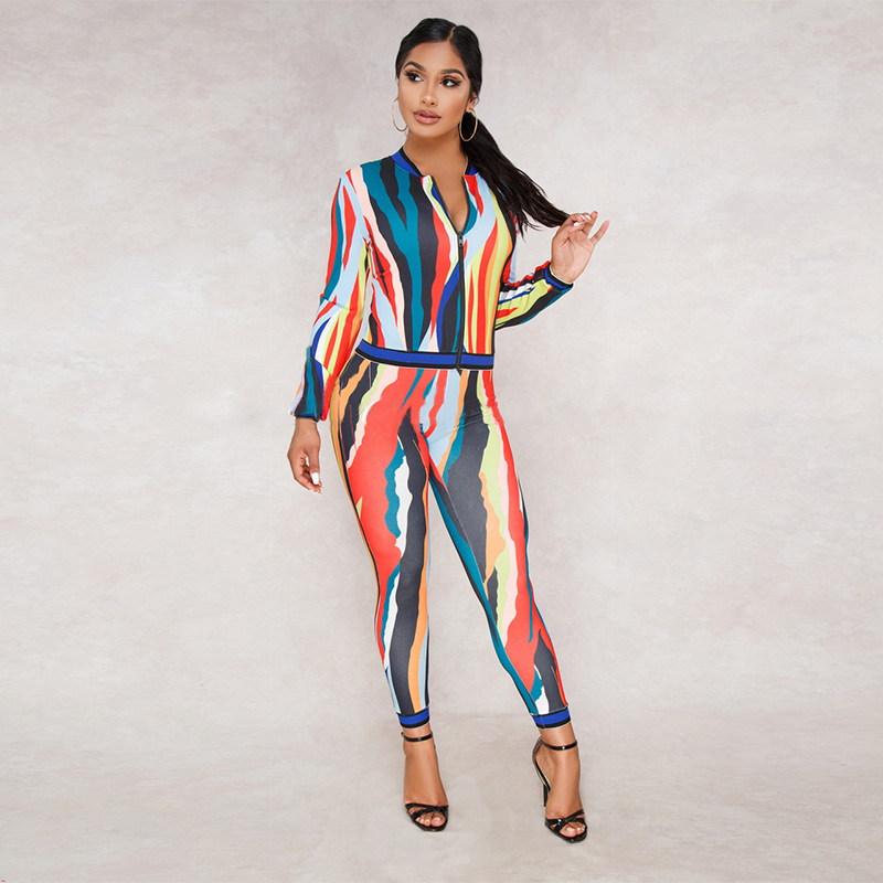 Vertical Striped Print Women Set Casual O Neck Long Sleeve Top Jacket With Pants Bodycon Tracksuit Suit Female Sport Set Women