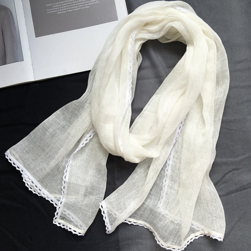 White   Scarves   Linen   Scarf     Wraps   Capes Hijab Natural Long Lace   Scarves   for Women