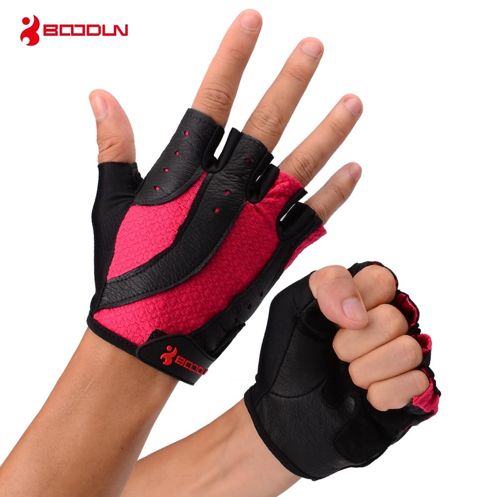 Купить с кэшбэком Boodun Brand Sports Gloves Weight Lifting Ladies Genuine Leather Summer Half Finger Gym Glove Women Exercise Fitness Gloves