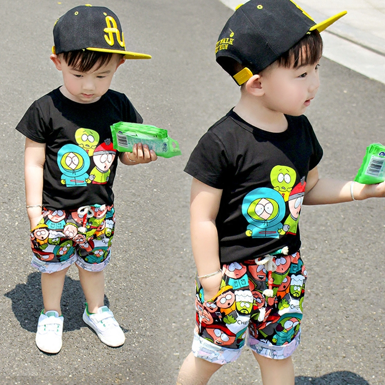 2018 new summer childrens clothing set baby boy cloth cartoon small zombie short sleeve suit Black two pcs boy cloth for 1T-5T